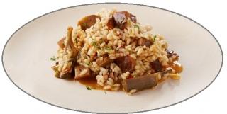 arroz caldoso con conejo y pollo