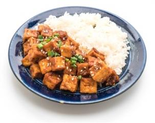 Arroz con tofu a la mostaza
