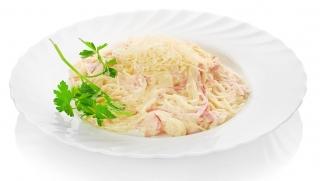 espaguetis integrales a la carbonara