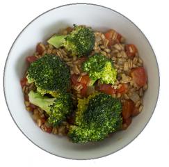 espelta salteada con brócoli