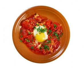 Huevos con tomate (en microondas)