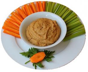 Hummus con zanahoria y apio