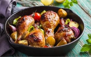 Jamoncitos de pollo al horno con verduras