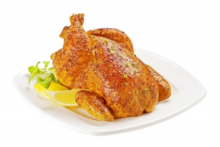 Pollo relleno de manzana, nueces y ciruelas
